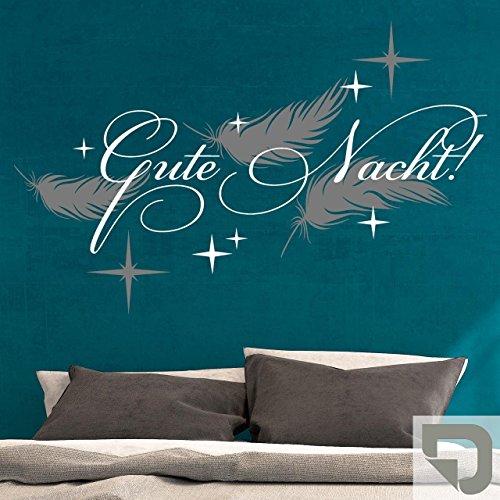 DESIGNSCAPE® Wandtattoo Gute Nacht mit Federn 120 x 75 cm (B x H) Farbe 1: grau DW803207-M-F6