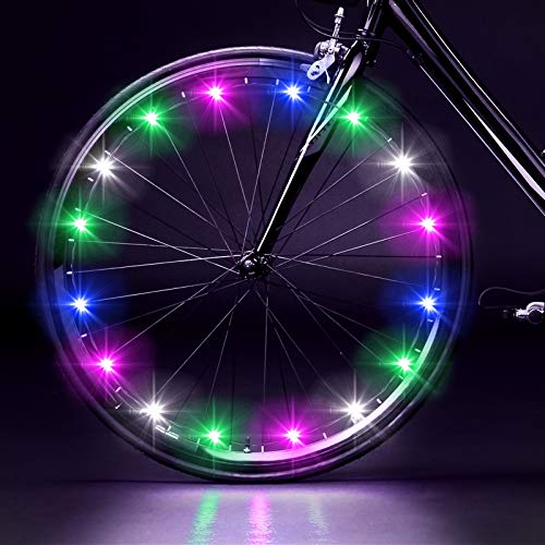 EEEKit 2-Tire Pack LED Bike Wheel Lights with Batteries Included, Waterproof Bike Spoke Lights Super Bright Safety Cycling Decoration Tire Lights for Kids Adults Night Riding(Rainbow)