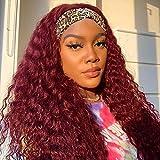 10A Kinky Curly Headband Wig Human Hair 99J Red Burgundy Colored Adjustable Headband Wigs For Black Women 180% Density No Glue (20 Inch )