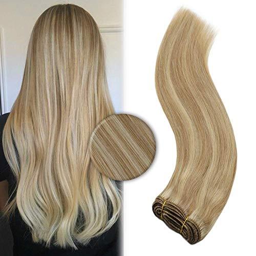 YoungSee Echthaar Extensions Tressen Weaving zum Einnahen Blond Strahnchen Remy Haareverlangerungen Blond Human Hair Weave 100g 50 cm