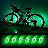 Teguangmei 6pcs LED Luz de Radios de Bicicleta,Luces de Neón a Prueba de Agua con 3 Modos de Parpadeo,Luces de Irradiación de Ruedas de Bicicleta Fáciles de Instalar Para Adultos y Niños,Verde