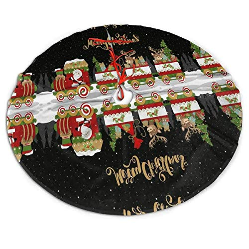 NEWY1 Santa Claus Train Berry Elk Deer Gifts Xmas Tree Skirt Large Soft Tree Skirts Carpet Size 30'