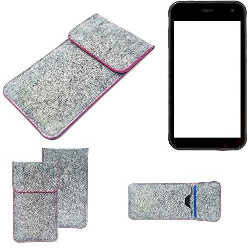 K-S-Trade Handy Schutz Hülle Für Cyrus CS 22 Schutzhülle Handyhülle Filztasche Pouch Tasche Hülle Sleeve Filzhülle Hellgrau Pinker Rand