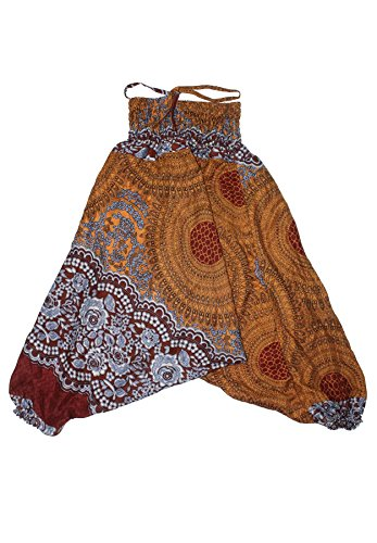 Lofbaz Mädchen Kinderhose Haremshose Jumpsuit Blumenmuster Braun Größe 4-5Y