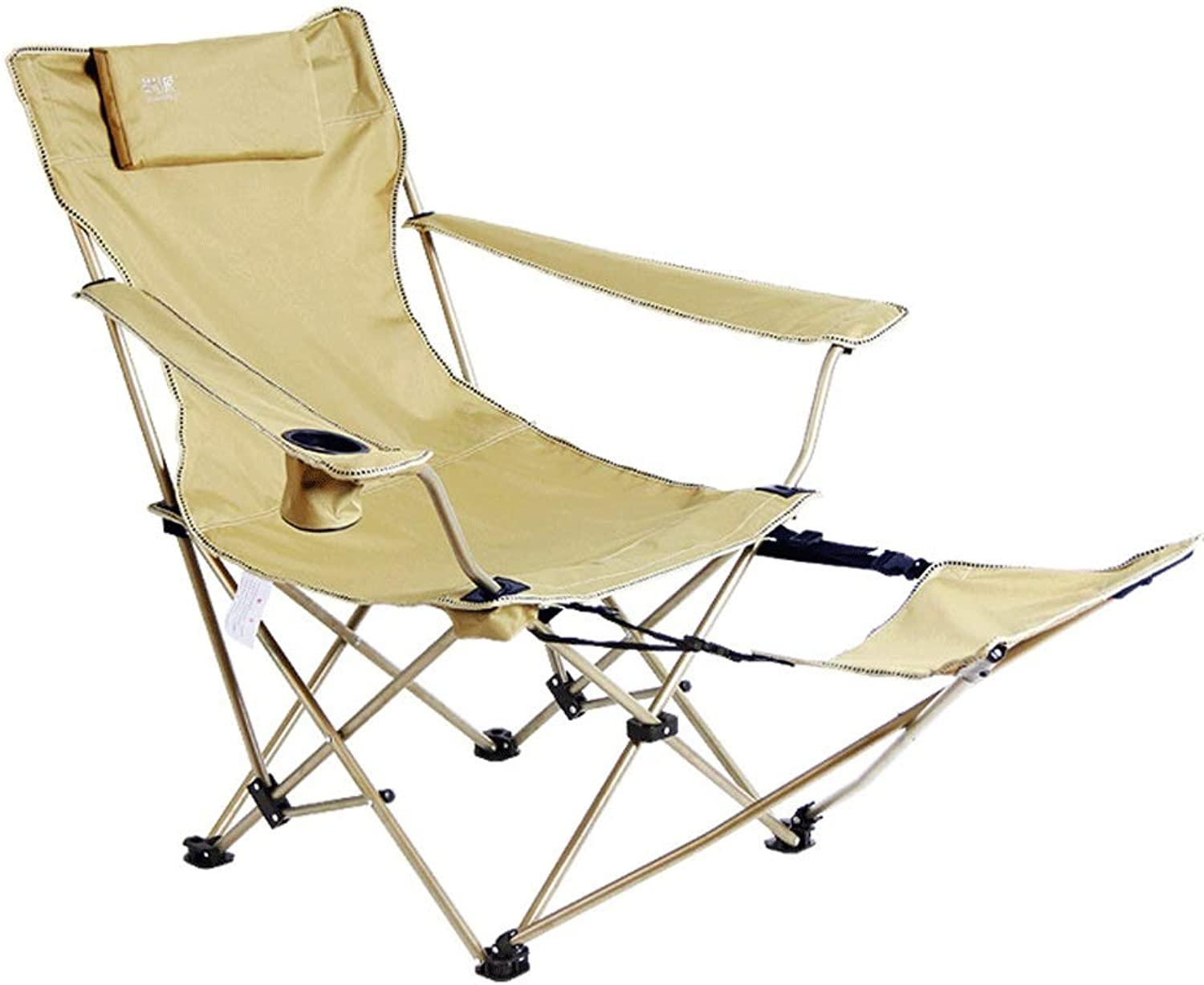 Multifunctional Folding Recliner Ultra Light Portable Camping Chair Casual Beach Chairs, Adjustable Armchair, Green Beige Can Bear 130kg (color   Green)