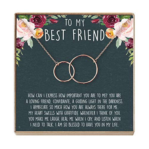 Best Friend Necklace - Heartfelt Card & Jewelry Gift for Birthday, Holiday, More (2 Interlocking Circles Rose Gold)