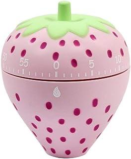 Ranvi Cute Fruit and vegetable Timer, Mini 55 Mins, for Time Management, Kitchen Timer, Kids Timer, Workout Timer (Strawberry)