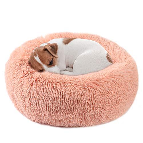 Vanansa Cuccia per cani Cuccia per gatti rotonda in peluche autoriscaldante per cani e gatti - Migliora il sonno e mantiene caldo per cani di piccola, media e grande taglia, rosa 50cm