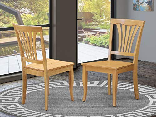 East West Furniture Avon Kitchen Chairs Wooden Seat and Oak Hardwood Frame Dining Chair Set of 2