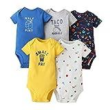 Bebé Body Pack de 5 - Mono Niños Mameluco Manga Corta para Trajes Baño Ropa de Verano Algodón Pelele 6-9 Meses