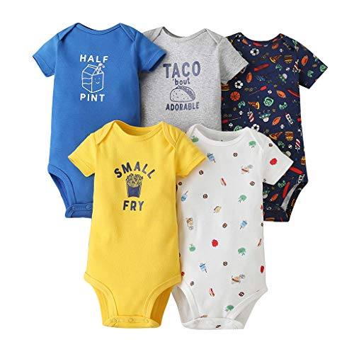 Bebé Body Pack de 5 - Mono Niños Mameluco Manga Corta para Trajes Baño Recién Nacido Ropa de Verano Algodón Pelele 3-6 Meses