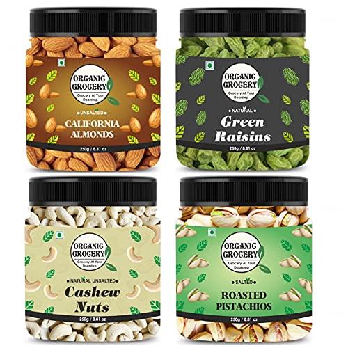 Organic Grocery Dry Fruits Combo Pack - (250g * 4) 1kg (Almonds, Cashews, Pistachios, Raisins)