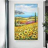 Famoso Van Gogh Pintura Girasol Campo Amarillo Texturizado Lienzo Pintura Moderna Decoración del Hogar Pintura de la Pared Póster Flor 60x80cm