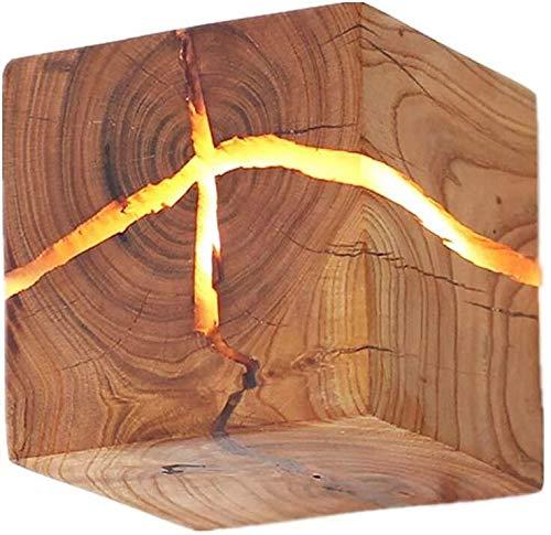 Iluminación Light Commercial Lámpara de pared de madera original Creative-Fest nocturna iluminada estructura fiable noche decorativa luz de madera en el interior (color: madera)