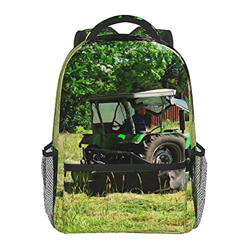 BYETWIK Schulrucksack Schultaschen Mädchen Jungen Teenager Rucksack, Gras Heu Traktor Feld Schultasche Schulrucksäcke Backpack für Damen Herren Geeignet