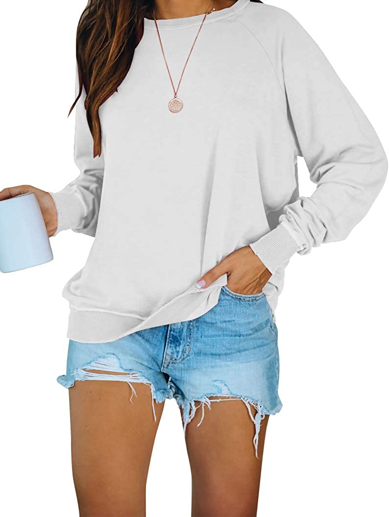 PRETTODAY Women's Casual Solid Sweatshirts Long Sleeve Crew Neck Tops Loose Pullovers