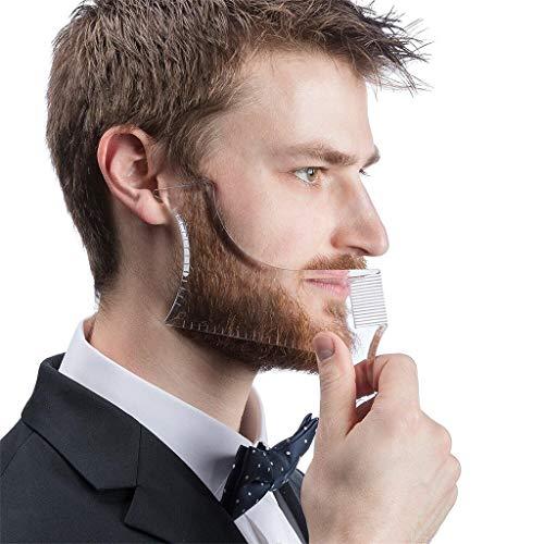 Bart Schablone Bartpflege Bartschablone Bartformen für Kinnbart Koteletten Hals   Bartschablone Bartvorlage Styling   Bartkamm Styling Tool Symmetrische Bartschablonen und Kontur der Bartlinie (Klar)