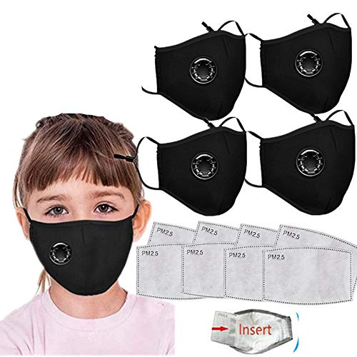 4PC Face Bandanas Cotton with Breathing valve With 8pcs Activated Carbon Filter Replaceable Filters Haze Dust Face Health for Kids (4PC+8 Black)
