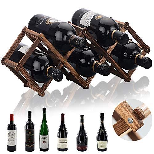 Botellero Vino Madera, Senteen Estantería De Vino Plegable Estante Botellas De Vino Vertical Portabotellas De Vino Apilable Wine Rack para Exhibición De Vinos Barra De Bar Cerveza Cocina Casera