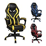 Okeysen Gaming Chair,Ergonomic High Back Office Desk Chair, Swivel Executive Computer Chair with Retractable Footrest, Lumbar Support and headrest, PU Leather Recliner Home Chair. (Yellow)
