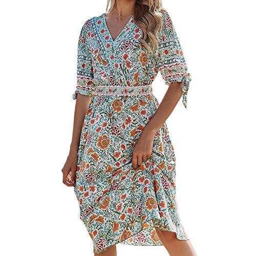 SmallYin Damen Kleid Boho Floral Spaghetti Swing Kleid,mit Schnallengürtel Sling Strand schlank trägerlos Blumen-Retro-Kleid, LäSsig V-Ausschnitt Kleider Mode Kleid,Lange äRmel FrüHling Summer