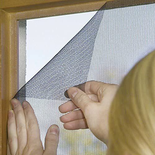 BricoShopping® ZANZARIERA Moschiera adesiva con strappo facilmente REGOLABILE universale per porta finestra balcone camper con nastro adesivo anti insetti zanzare fai da te (130x150 cm, Nero)