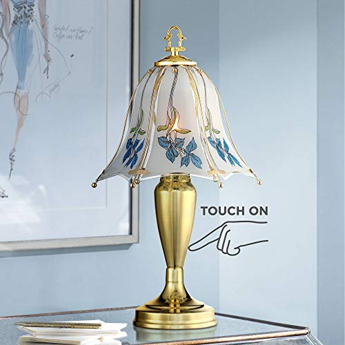 Traditional Accent Table Lamp 18' High Brass Blue Floral Glass Shade Touch On Off for Bedroom Bedside Office - Regency Hill