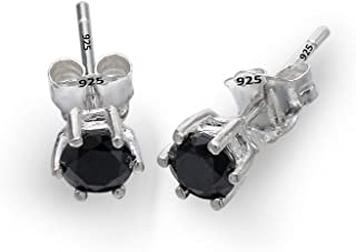 925 Sterling Silver Cubic Zirconia 6-Prong Unisex Solitaire Round Basket Set Stud Earrings Black