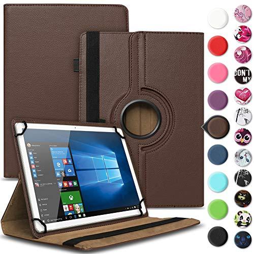 Nauci Tablet Hülle für Xido Z120 Z110 X111 X110 Tasche Schutzhülle Hülle Cover aus Kunstleder Standfunktion 360° Drehbar, Farben:Braun