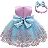 Claystyle Baby Girls Dresses, Big Bowknot Pageant Lace Embroidery Dress Toddler Party Tutu Gown Dresses with Headwear