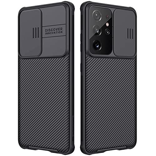 Nillkin CamShield Pro Kompatibel mit Samsung Galaxy S21 Ultra Hülle, mit Kameraschutz & Anti-Rutsch Stoßfest Kratzfest Handyhülle für Galaxy S21 Ultra 5G 6.8 Zoll Schwarz