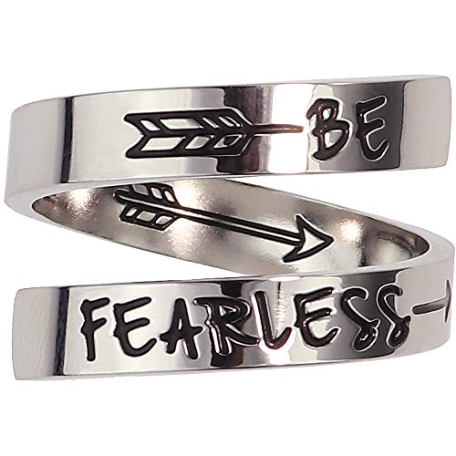Suyi Bague De Motivation en Argent Bague D'encouragement Réglable en Acier Inoxydable Cadeau d'anniversaire pour Elle Be Fearless