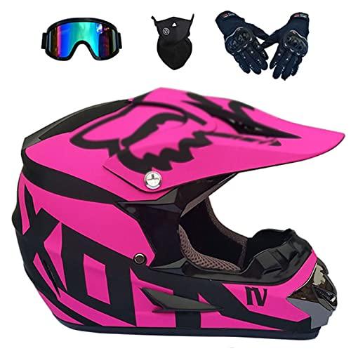 Cascos De Motocross, Descenso DH Motocicleta Todoterreno Am Bicicleta De Montaña Casco Integral con Gafas + Guantes + Mascarilla Negro + Rosa Casco De Montar para Adultos