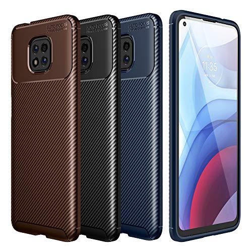 Kohlefaser Hülle für Motorola Moto G Power 2021 [3 Stück] Kohlefaser Textur Schutzhülle Schlank Matte Weich Rückschale (Schwarz, Blau, Braun)