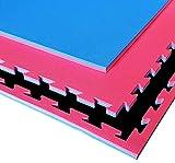 G5 HT SPORT Tatami Rosso/Blu da Fitness a Puzzle | 100 * 100 * 2 cm | Protezione per Pavimenti | materassino per Palestra, Workout, Ginnastica, Arti Marziali | Lavabile e Reversibile