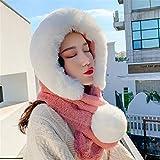 JFTMY Peluche Sombrero niña Invierno versión Coreana Dulce y Encantadora Oreja Neta Bufanda roja de una Pieza Sombrero Engrosado Cuello Caliente Cubierta (Color : A)