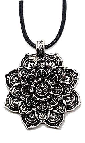 Eclectic Shop Uk Om Mantra Lotus Blume Tantra Mandala Om Aum Anhänger Corded Halskette Versilbert Buddhistisch Geometrische Halskette Schmuck