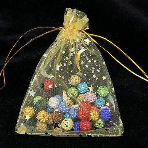 Aober 100St. Moon Star Organza Taschen Kleine Weihnachts-Kordelzug-Geschenktüte Charm Jewelry Packaging Bags, Gold, 7x9cm