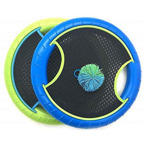 Adanse Trampolin Super Disc F Risbee Bounce Spiel mit Gummi Band Bouncy Ball (2 SCHL?Ger und 1 Ball)