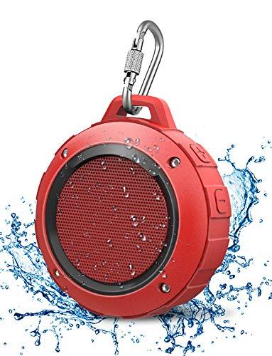 LENRUE Wasserdicht Bluetooth Lautsprecher, Kabellos Mini Dusche Lautsprecher mit HD Stereo, 8 Stunde Spielzeit, Mikrofon, Saugnapf, Karabiner, Speaker für Outdoor, Wandern, Camping, Beach (Rot)