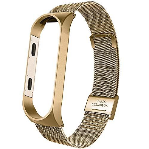 CMYYFA Correa de metal para Xiaomi Mi Band 4, correa de reloj inteligente para Xiaomi Miband 3, correa de repuesto transpirable (color: bronce dorado, tamaño: para mi band 4)