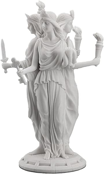 Hecate Greek Goddess Of Magic Witchcraft Statue Sculpture White Finish