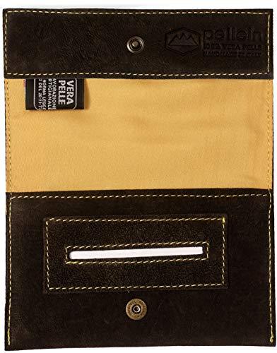Pellein - Portatabacco in vera pelle Crackland - Astuccio porta tabacco, porta filtri, porta cartine e porta accendino. Handmade in Italy