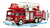 Toysery Fire Truck Toy, Extending Rescue Rotating Ladder Friction Power Lights & Siren, Bump & Go Action Fire Truck Kids Toy, Pull Back Construction Toy Vehicles for Toddlers Boys 2,3,4 Year Old