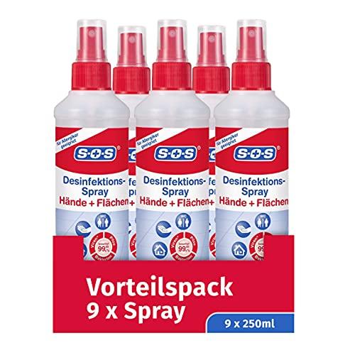 SOS Desinfektions-Spray, 9 x 250 ml Sprühflasche, Handdesinfektion gegen 99,99% der Bakterien, Pilze und Viren*, geeignet zur Desinfektion von Flächen und Gegenständen