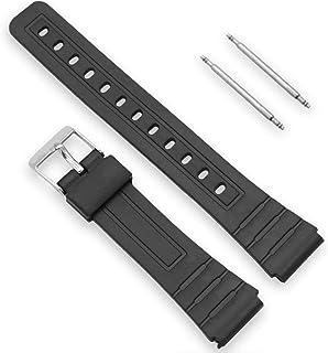 Ociodual Bracelet Réglable pour Montre Casio F-91 de 18 mm Noir en Résine Plastique Boucle en Métal avec Pins F91 Noir