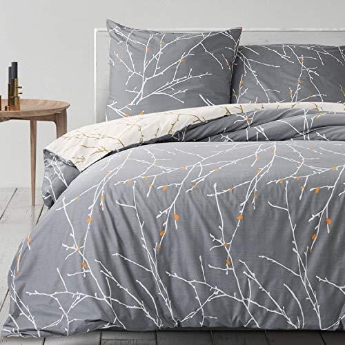 Bedsure Baumwolle Bettwäsche 155x220 cm Grau/Beige Bettbezug Set mit schickem Zweige Muster, 3 teilig weiche Flauschige Bettbezüge mit Reißverschluss und 2 mal 80x80cm Kissenbezug