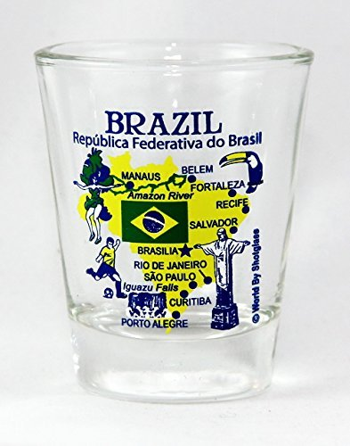 Brazil Landmarks and Icons Collage Shot Glass