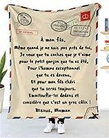 フランス語 豪華なスローブランケット 娘/息子のために 航空郵便 積極的な励まし 印刷された手紙 フリースベッドはスローします パーソナライズされたキルト 誕生日プレゼント,To son,150*220cm