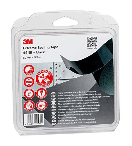 3M Nastro Extreme Sealing Tape 4411B Nastro Adesivo Acrilico per Sigillatura di Giunzioni e Infiltrazioni, 50 mm x 5.5 m, Nero, Spessore 2 mm, 1 Pezzo